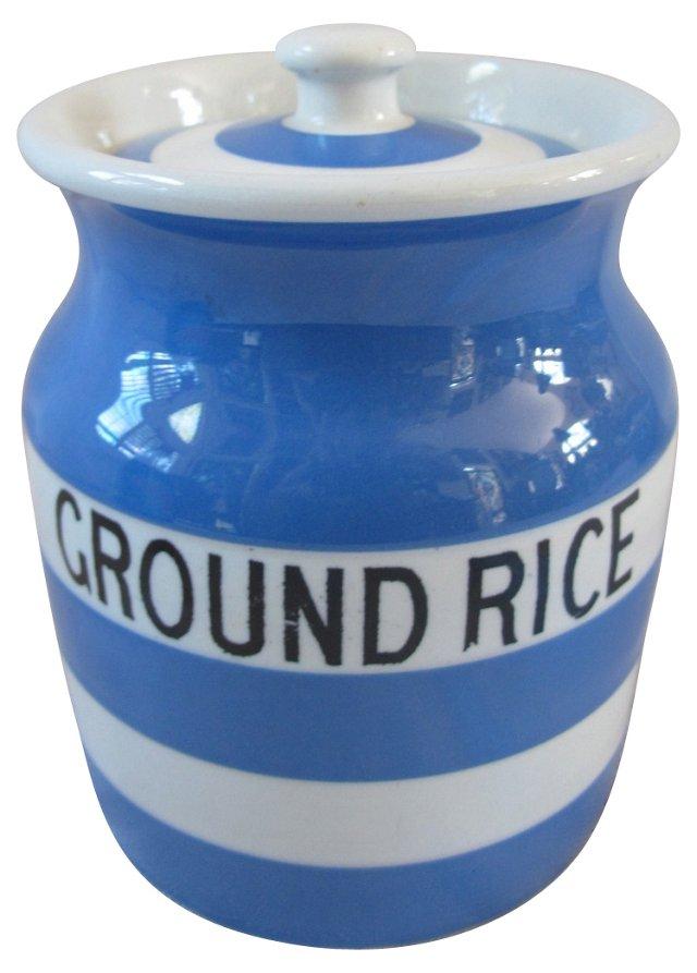 English Cornishware Rice Canister