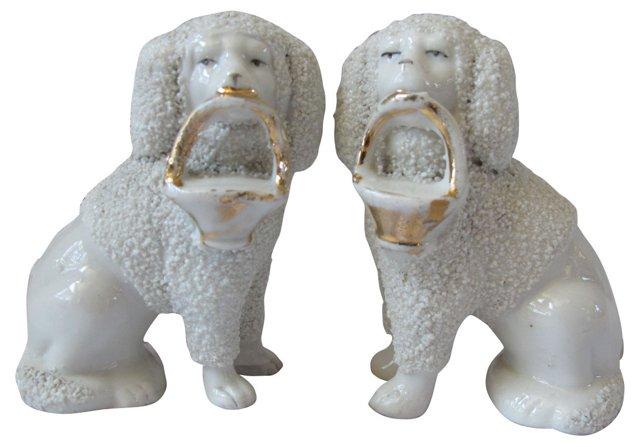 Antique  Porcelain Poodles, Pair