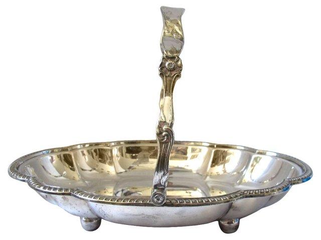 English  Silverplate Cake Basket
