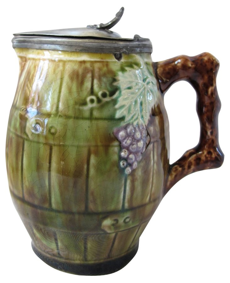 Antique  Majolica Syrup   Pitcher
