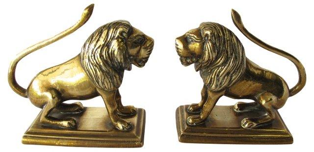 Antique Brass Lion Bookends