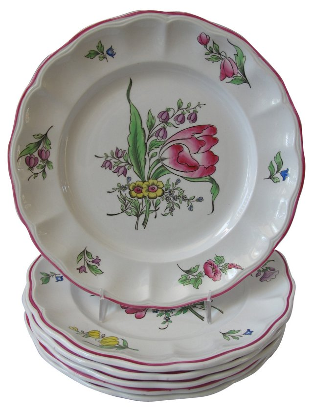 Copeland Spode  Hand-Painted Plates, S/6