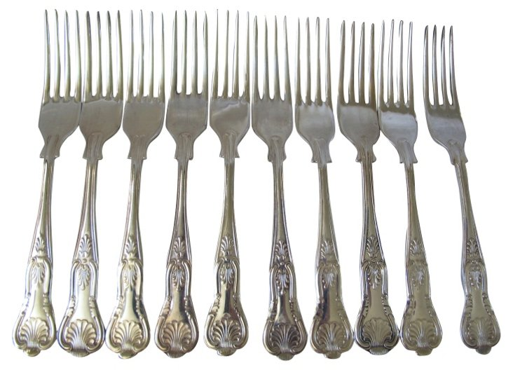 English Silverplate Kings  Forks, S/10