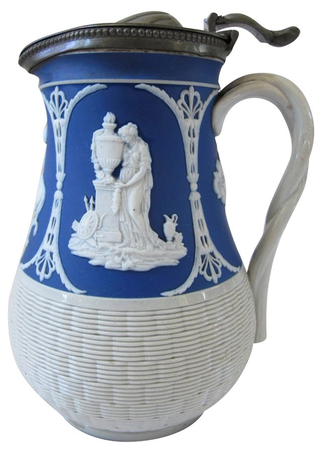 Antique Stoneware Jug w/ Pewter Lid