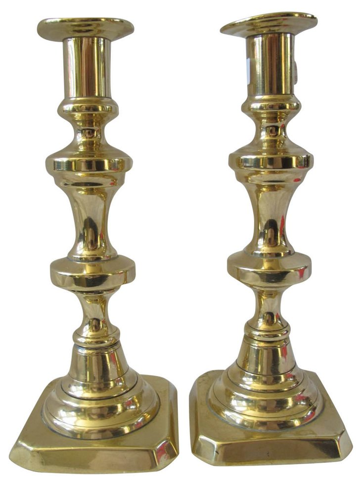 Antique   Brass  Candleholders,  Pair