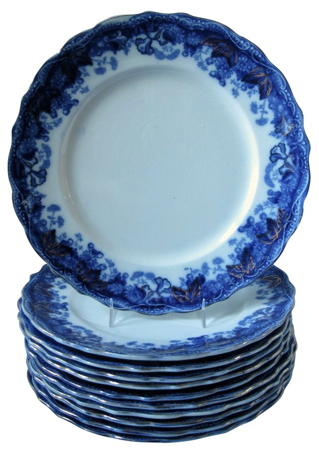 Gilded Flow Blue Plates, S/11