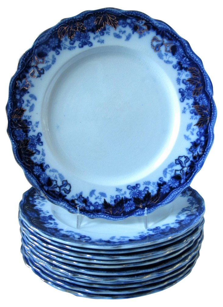 Gilded Flow Blue Plates, S/12