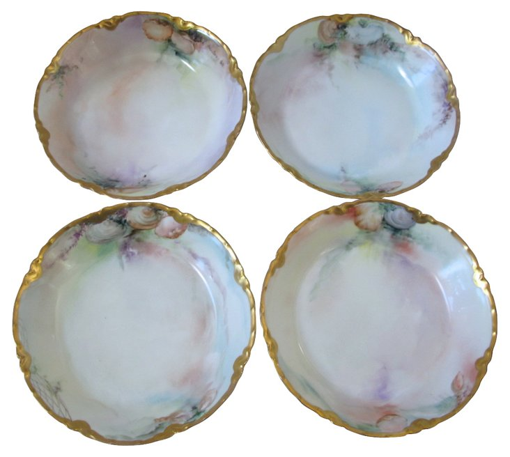 Haviland Limoges Hand-Painted Bowls, S/4