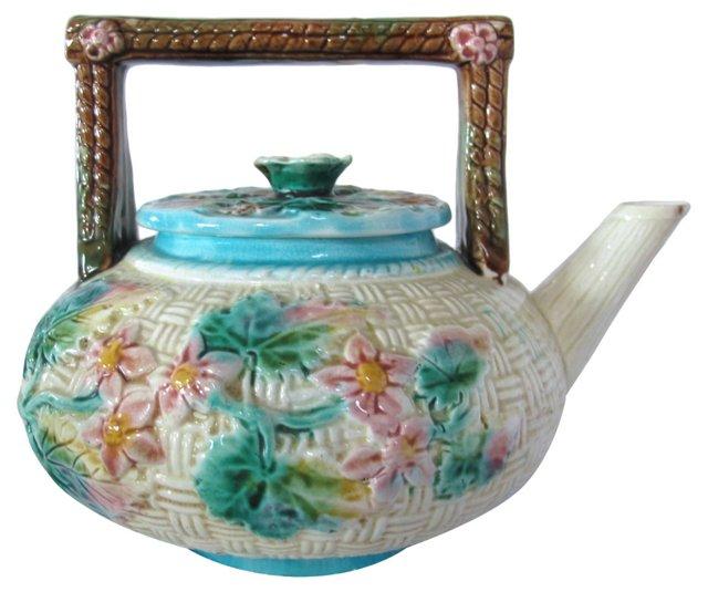 Antique Majolica Floral Basket Teapot