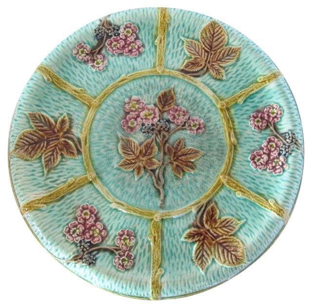 Antique Majolica Cake Serving Plate