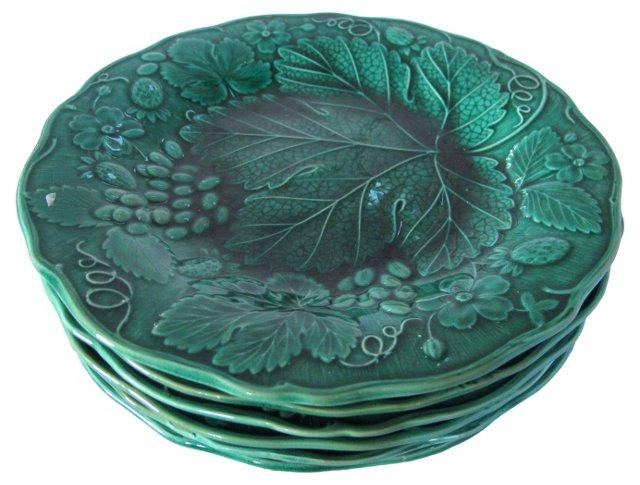 Antique Majolica   Plates, S/6