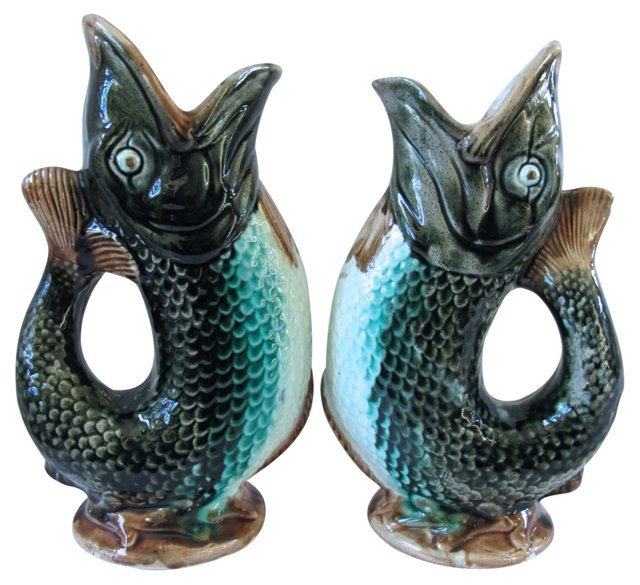 Antique Majolica Fish Jugs, Pair