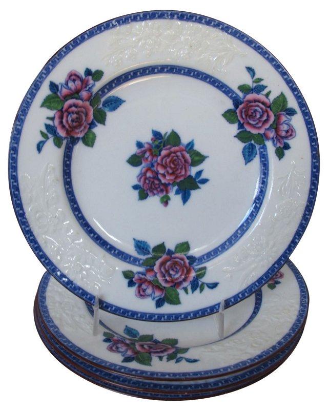 Spode Porcelain Floral Plates, S/4