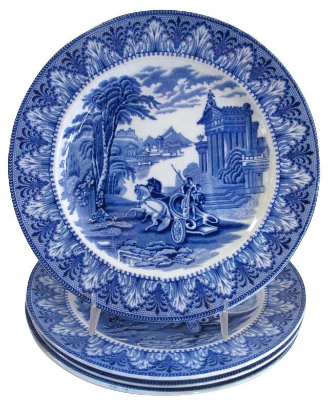 Antique Cauldon's Chariots Plates, S/4