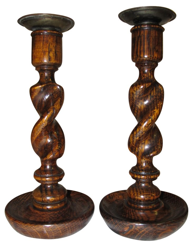 English  Oak Candleholders, Pair