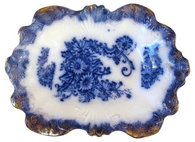 Antique  Flow Blue Serving  Dish