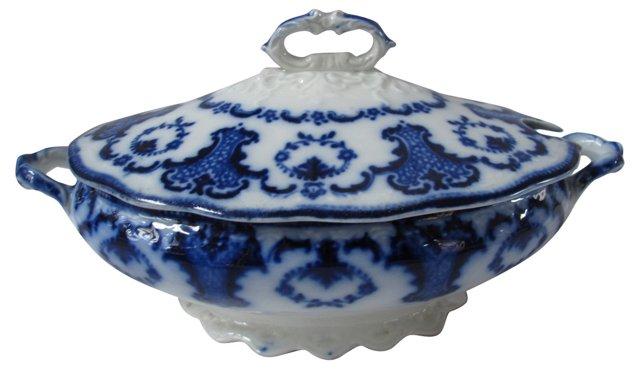 Antique Flow Blue Sauce Tureen