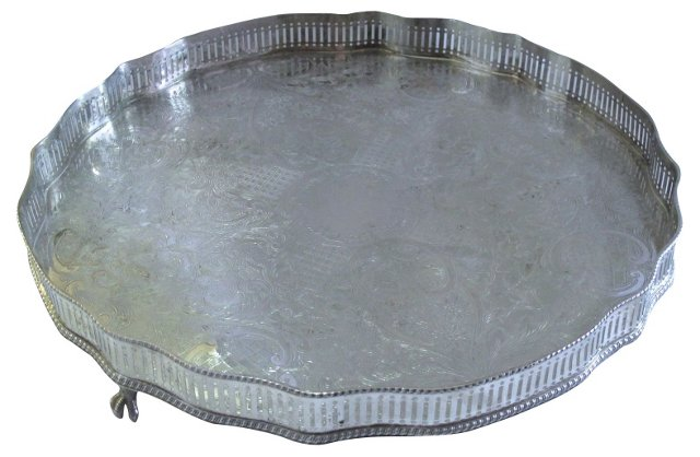 English Silverplate  Footed Gallery Tray