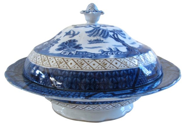 Willow Transferware Covered Dish