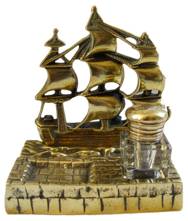English Brass Ship Inkwell