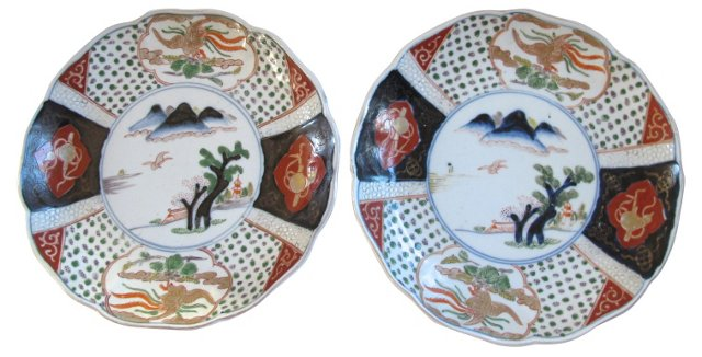 Japanese Porcelain Wall Plates, Pair
