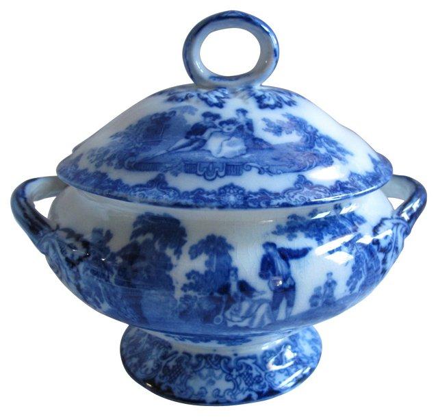 Antique Doulton Flow Blue  Tureen