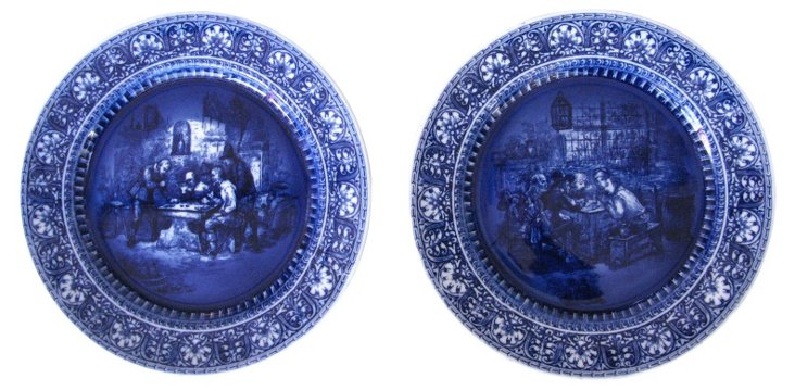 Doulton Flow Blue Wall Plates, Pair