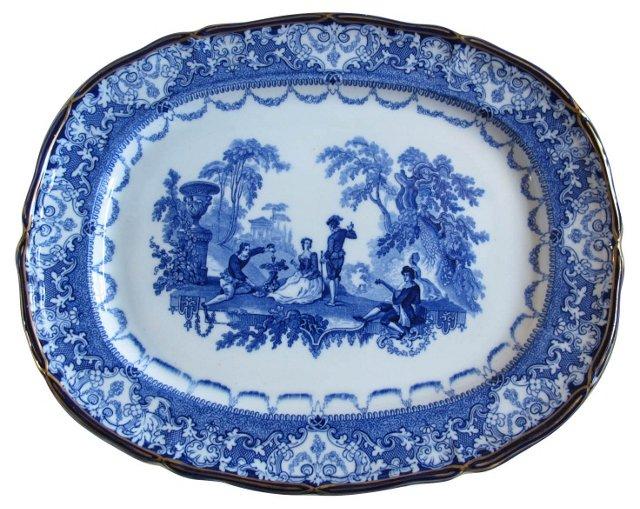 Antique Doulton Flow Blue Turkey Platter