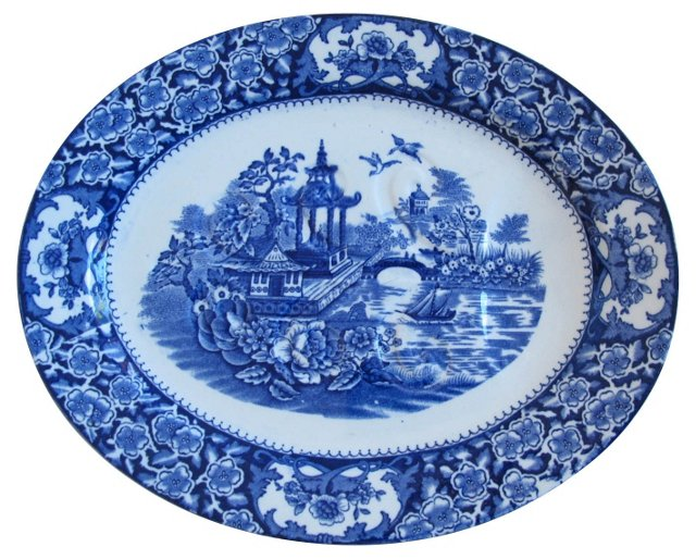 English Antique  Flow Blue Platter