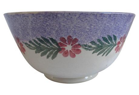 English Hand-Painted Spongeware Bowl