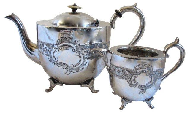English Silverplate Tea Service, 2 Pcs