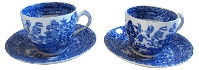 Wedgwood Willow Cups & Saucers, Pair