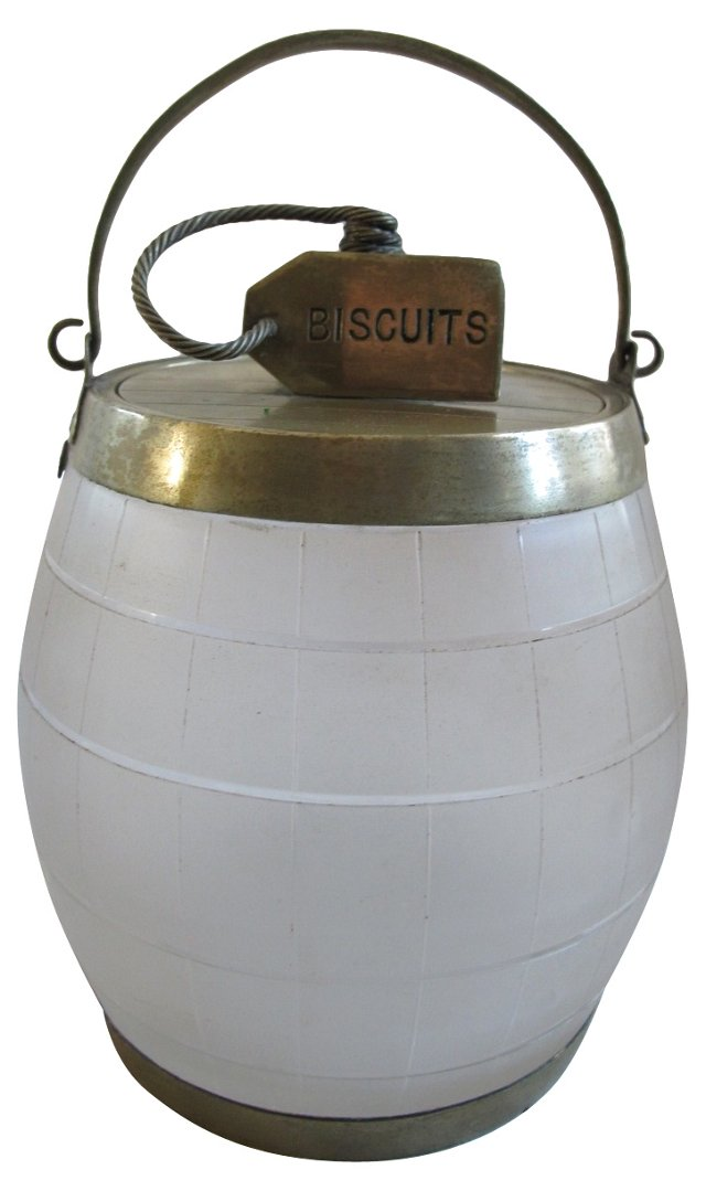 Antique Frosted Glass Biscuit Barrel