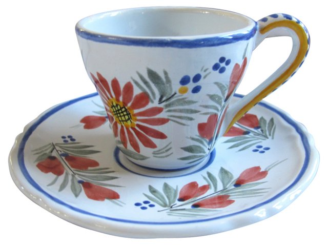 French Quimper Tea Cup & Saucer