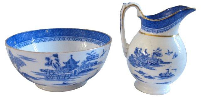 Spode Willow Porcelain Bowl & Pitcher