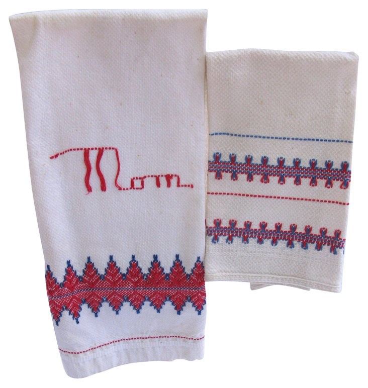 Hand-Embroidered English Towels, Pair