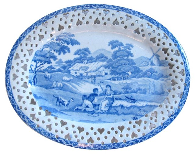 Staffordshire  Pierced Plate, C. 1820