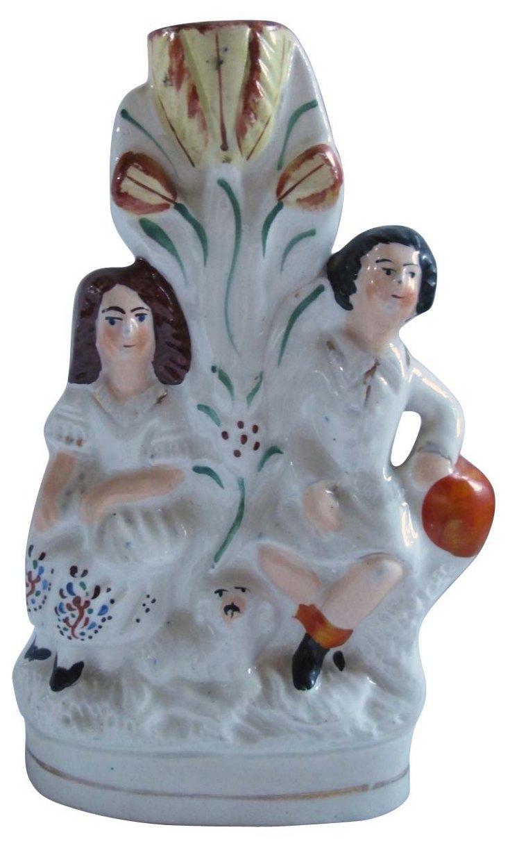 Staffordshire Spill Vase w/ Children