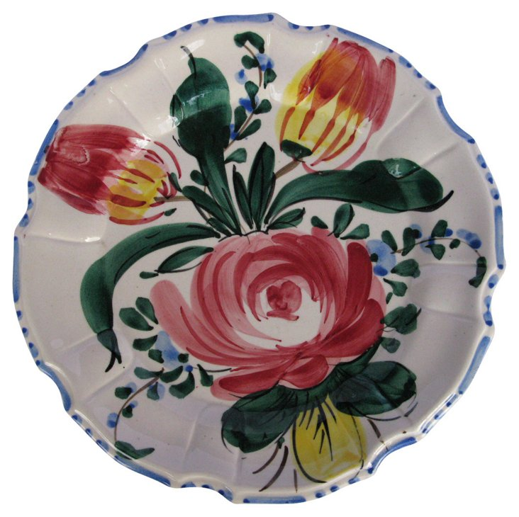 Hand-Painted Italian Floral Wall Plate