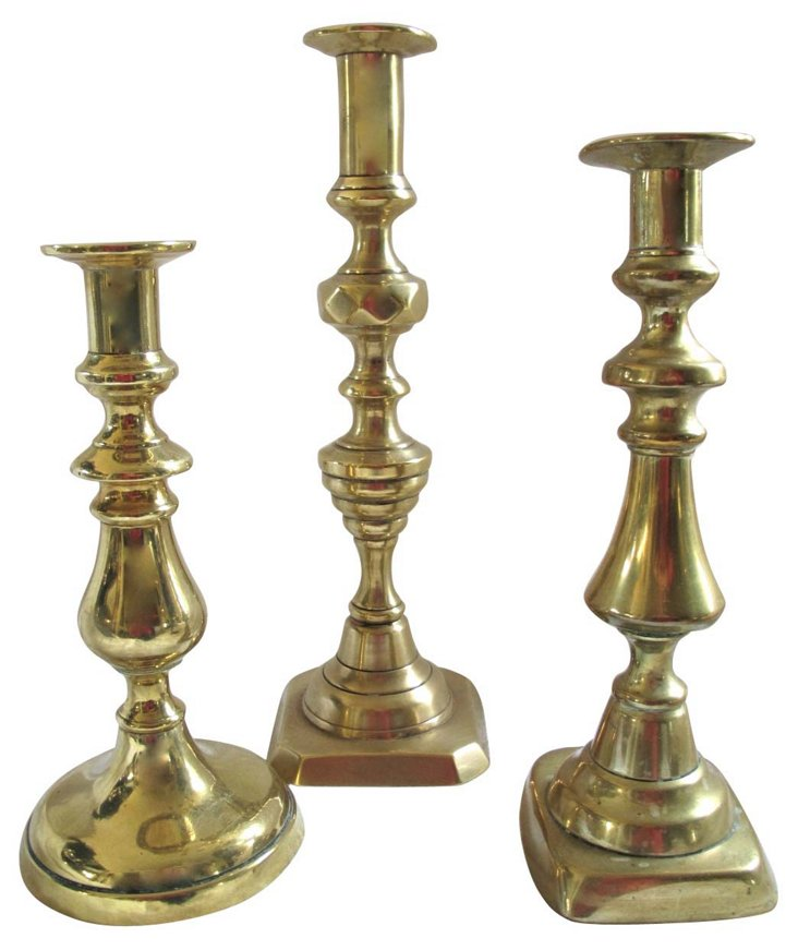 Antique English Brass Candleholders, S/3