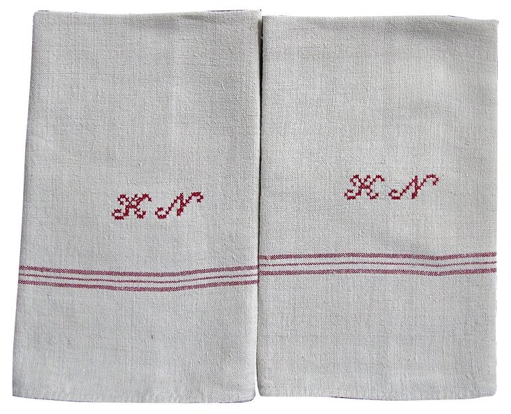 French Linen Dish Towels,  Pair