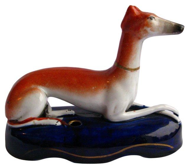 Antique Staffordshire  Greyhound Inkwell
