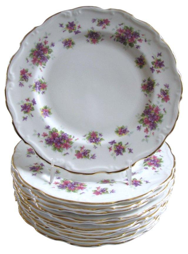 Porcelain Violetta Plates, S/12
