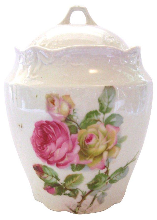 Porcelain Rose Cookie Jar