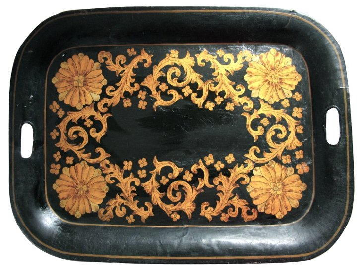 Early-19th-C. Gilded Tole Tray