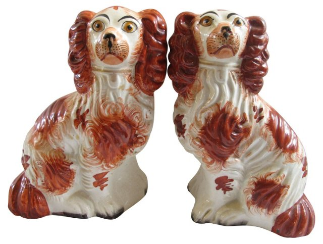 Staffordshire King Charles Dogs,  Pair