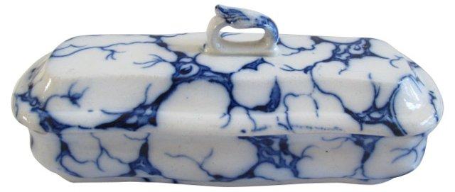 19th-C. Flow Blue Marbled Razor Box