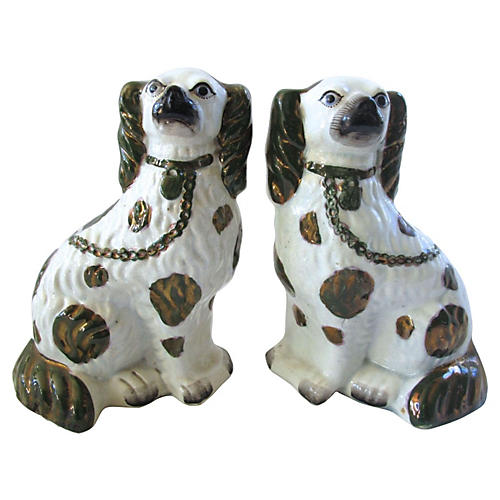 Antique Staffordshire Blue Eye Dogs