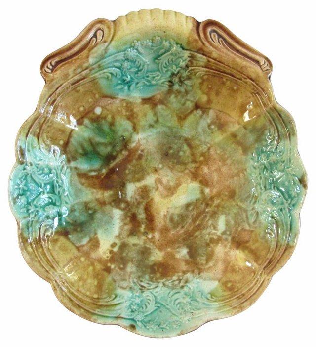 Antique  Majolica Shell Dish