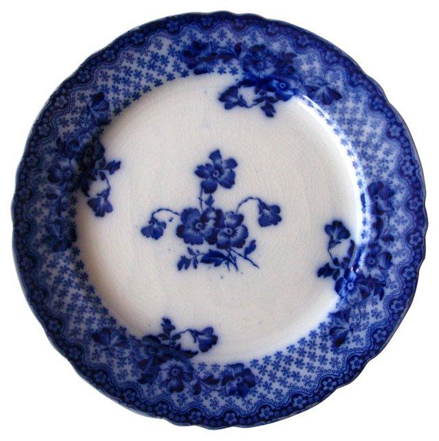 Antique Flow Blue Floral Wall Plate